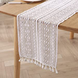 Styled World Macrame Table Runner White 72 Inches | Bohemian Crochet Table Runner with Tassels | Farmhouse Rustic Woven Lace Dining Table Decor for Wedding Bridal Party Home Décor