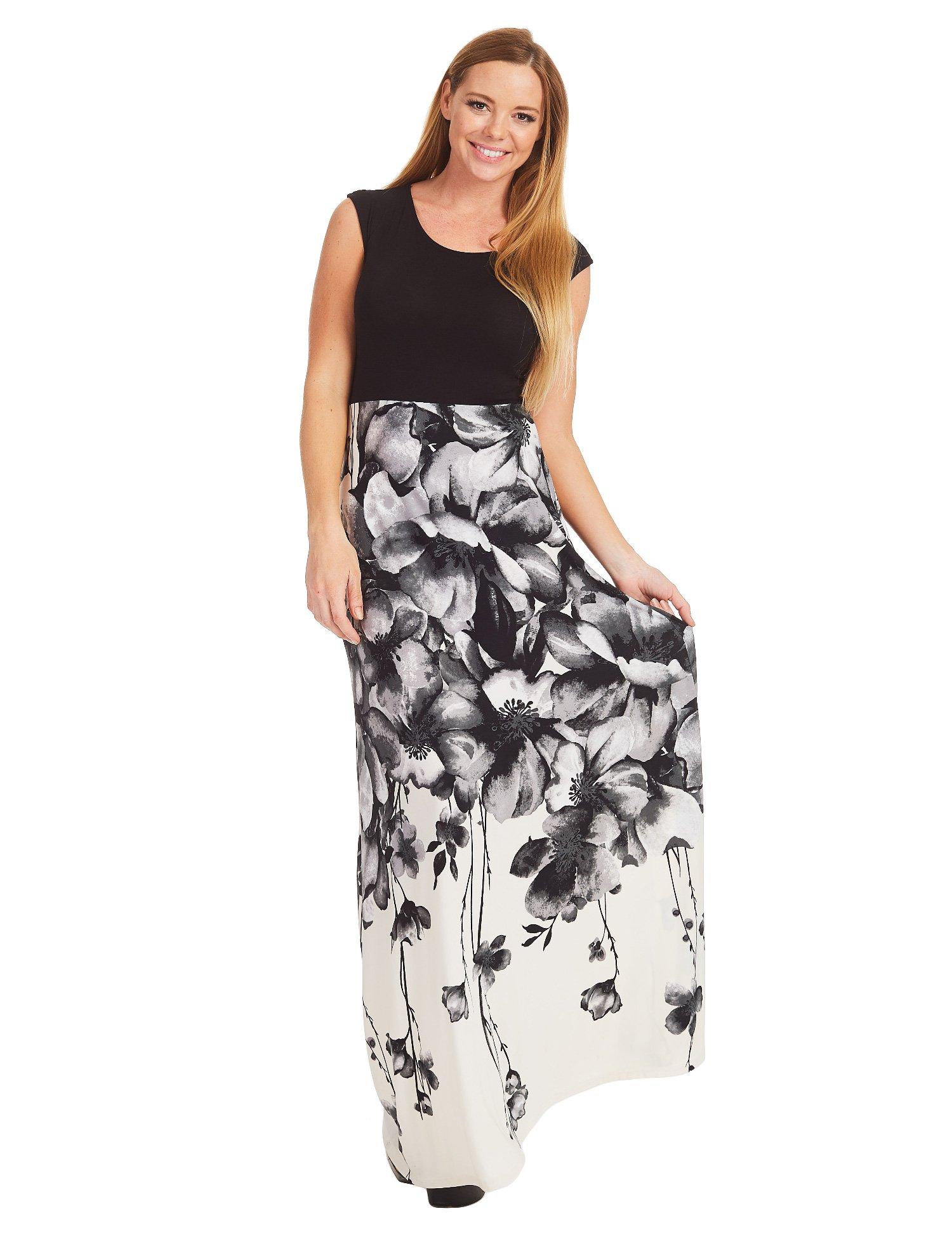 WB1390 Womens Print Contrast Sleeveless Empire Line Maxi Dress XXL BLACK_IVORY