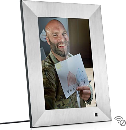 NIX Lux 10 Inch Digital Picture Frame With Brushed Silver Finish – HD Display, Auto-rotate, Motion Sensor and USB SD Card Supported