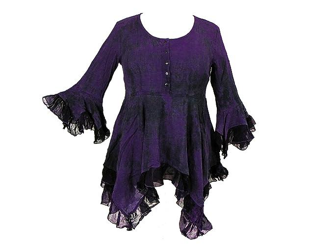 Dark Star Plus Size Purple And Black Gothic Georgette Renaissance