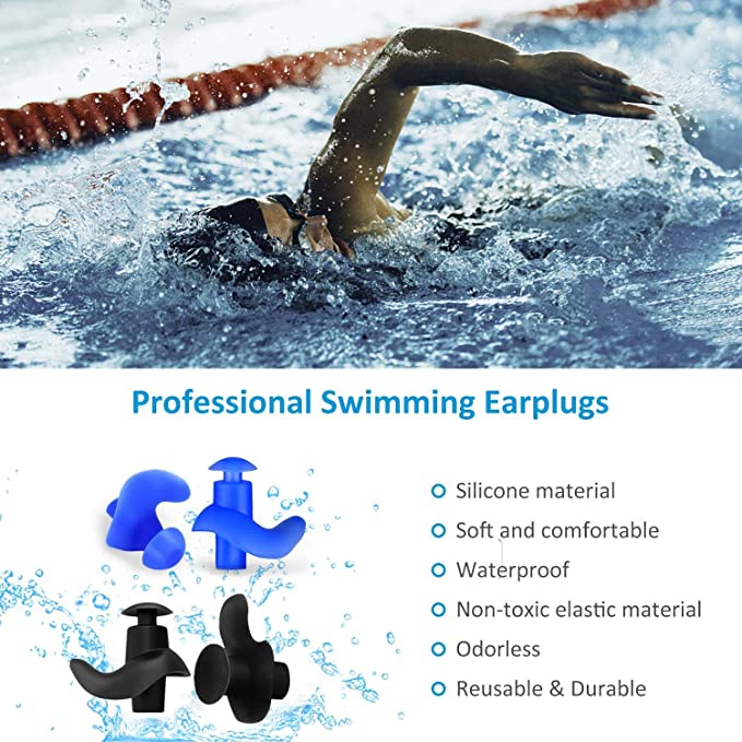 GOODGDN 14pcs Ear Plugs,Professional Waterproof Reusable Silicone Earplugs for Swimming Showering Surfing Snorkeling Reusable Earplugs for Sleeping and Swimming