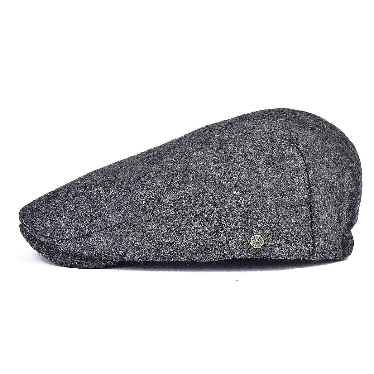 VOBOOM Mens Winter Wool Irish Tweed Caps Newsboy Flat Cap Back Adjustable Stretch fit