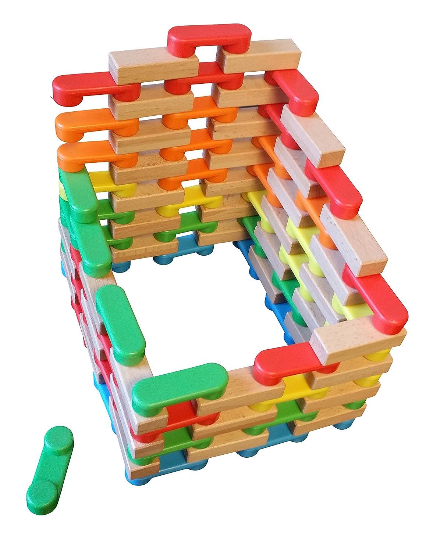 Magz Combo Bricks 80 Magnetic Building Blocks consisting of 40 Standard Bricks and 40 Wooden Bricks Progressive Trading