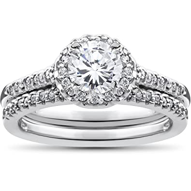 34ct diamond halo wedding engagement ring set 10k white gold - Halo Wedding Ring Sets