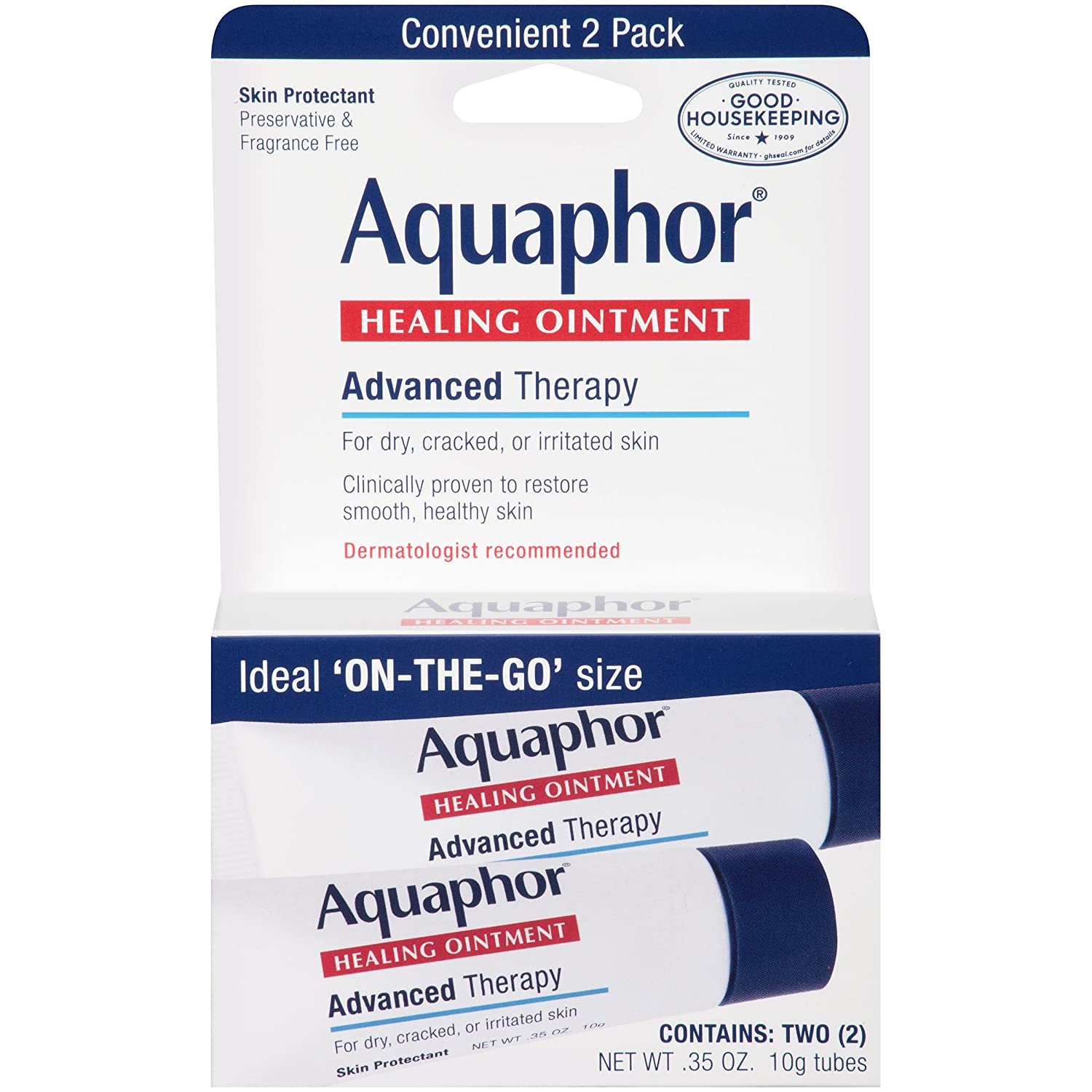 Eucerin Aquaphor Healing Ointment for Dry Cracked Chapped Skin and Lips for Unisex, 2 X 0.35 Ounce U-SC-2608