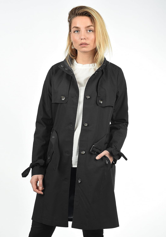 Desires Tina Women's Trench Coat Long Jacket with Hood Black (9000)