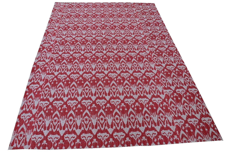 Sophia Art Rouge Ikat Twin Kantha r/éversible Couette en Inde de qualit/é sup/érieure 152,4/x 228,6/cm /à la Main par des Artisans du Rajasthan