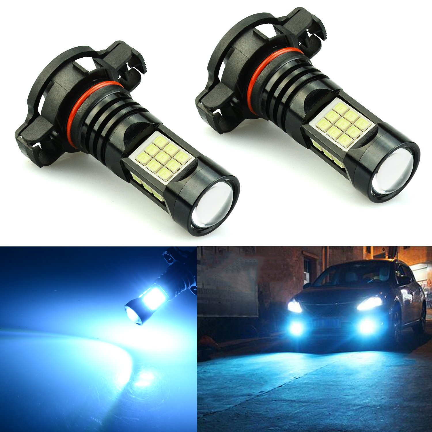 JDM ASTAR 2400 Lumens Extremely Bright PX Chips 2504 PSX24W LED Fog Light Bulbs for DRL or Fog Lights, Ice Blue by JDM ASTAR