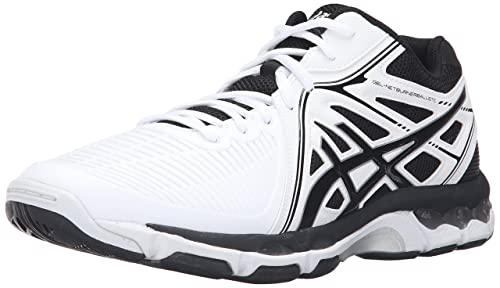 ASICS Men's Gel Netburner Ballistic Mt Volleyball Shoe, WhiteBlackSilver, 14 M US