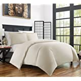 Zen Bamboo Ultra Soft 3-Piece Rayon Derived From Bamboo Duvet Cover Set - Hypoallergenic and Wrinkle Resistant - Full/Queen - Cream