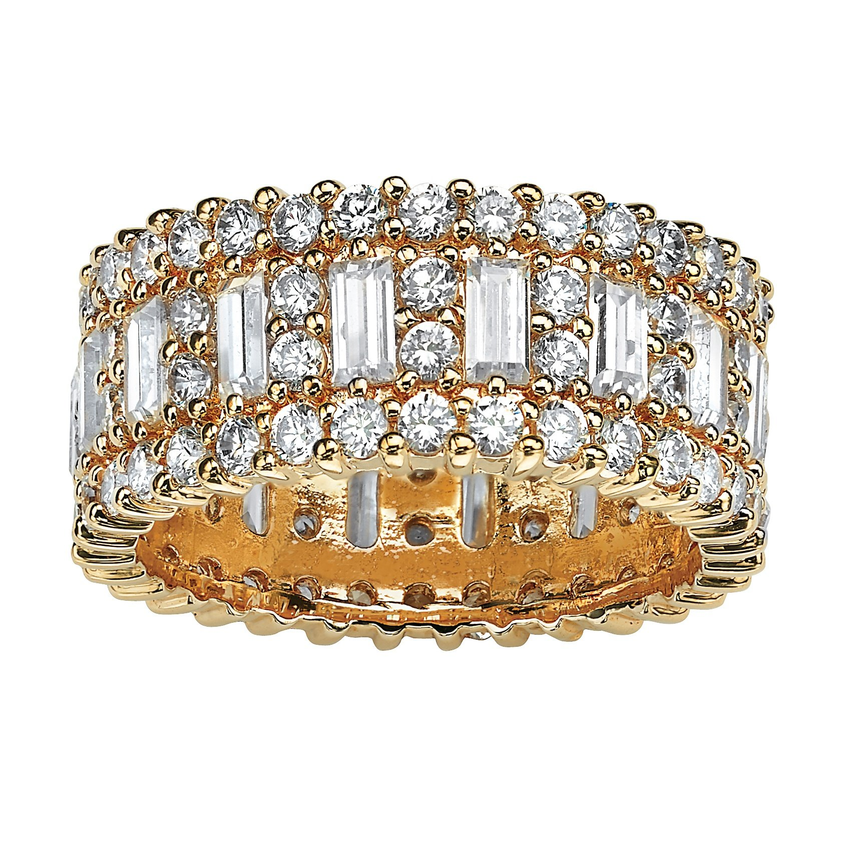 Palm Beach Jewelry Emerald-Cut and Round White Cubic Zirconia 14k Yellow Gold-Plated Eternity Ring Size 10