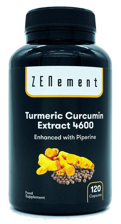 Cúrcuma 4600mg Extracto Certificado, 120 cápsulas, con Pimienta Negra. Potente antioxidante, para la salud cardiovascular y las articulaciones.