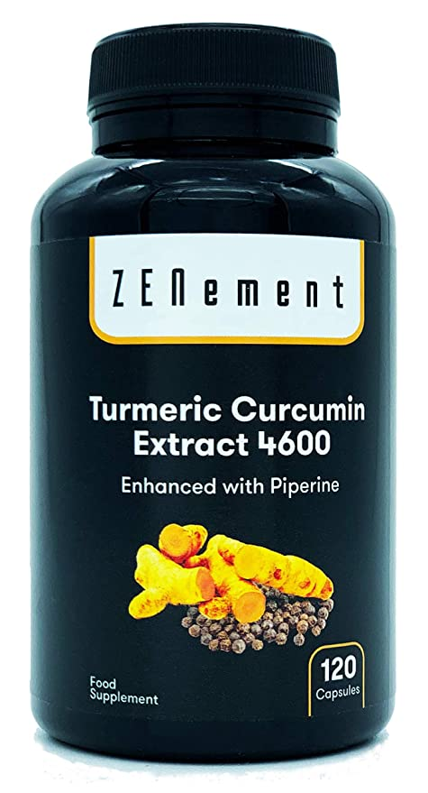 Cúrcuma 4600mg Extracto Certificado, 120 cápsulas, con Pimienta Negra. Potente antioxidante, para la salud de las articulaciones. Máxima ...