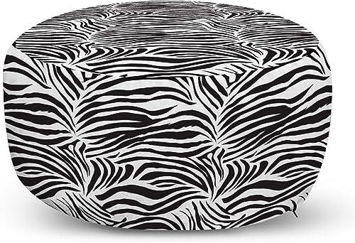 Ambesonne Zebra Print Ottoman Pouf
