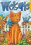 "Welcome Cat Spring Garden Flag Bird Floral Kitty 12.5"" x 18"" Briarwood Lane"