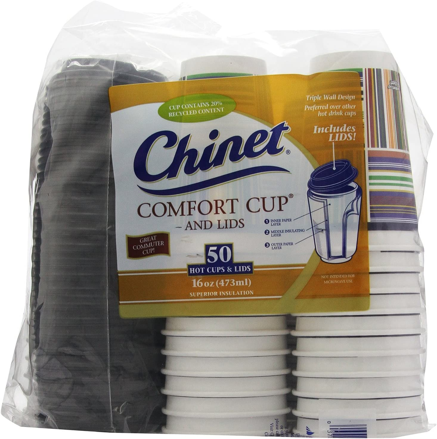 Chinet Comfort Cup (16-Ounce Cups), 50-Count Cups & Lids (Pack of 2)