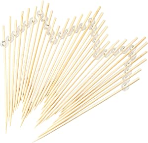 Simply Baked Large Appetizer & Cocktail Pick Clear Ball on Natural Wood Pick 6-Inch 30-Pack Disposable and Sturdy