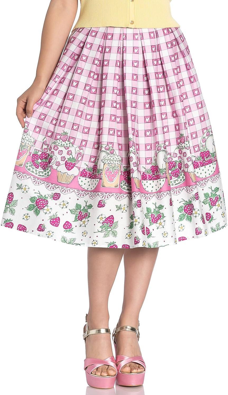 Hell Bunny Strawberry Shortcake Corazón AÑOS 50 Estilo Borde Falda ...