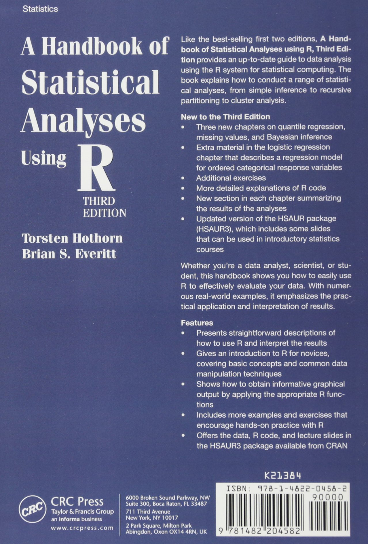 A handbook of statistical analyses using r third edition amazon a handbook of statistical analyses using r third edition amazon torsten hothorn brian s everitt 9781482204582 books fandeluxe Image collections