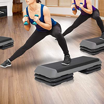"""8/"""" Exercise Stepper With Risers! 6/"""" 30/'/' Fitness Aerobic Step Adjust 4/"""""""