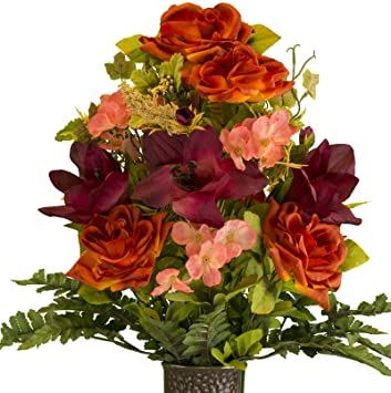 Amazon rubys silk flowers burgundy amaryllis with orange rose rubys silk flowers burgundy amaryllis with orange rose artificial bouquet featuring the stay in mightylinksfo