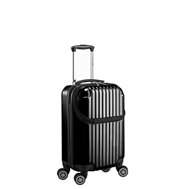 351d63d80 Euro Style Collection Luggage Travel Bag ABS Trolley Spinner Suitcase with  Front Opening, Black