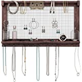 Comfify Rustic Jewelry Organizer - Wall Mounted Jewelry Holder Organizer with Removable Bracelet Rod and 16 Hooks - Perfect Earrings, Necklaces and Bracelets Holder - Vintage Jewelry Display Torched Brown