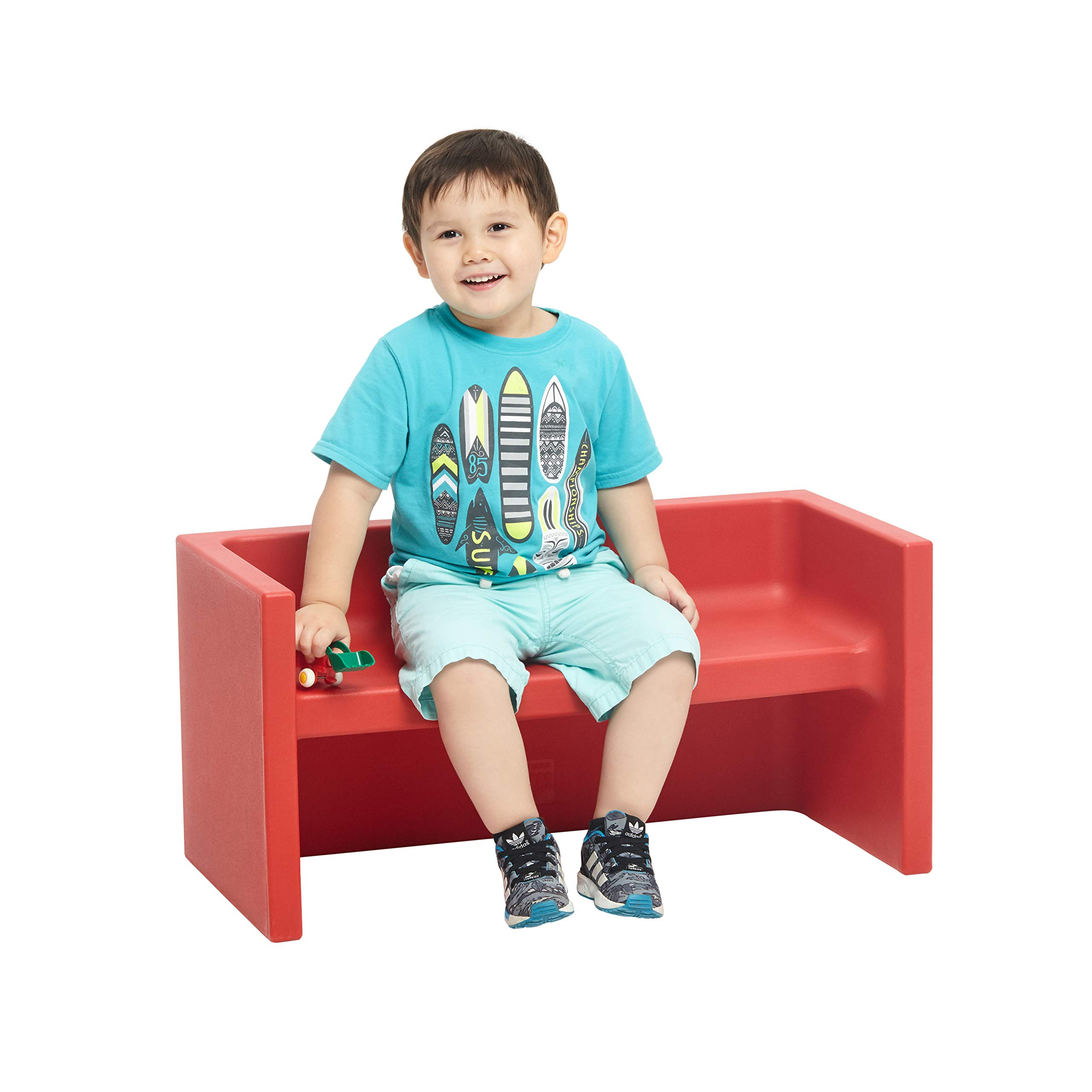 ECR4Kids Tri-Me 3-in-1 Cube Bench, Portable Indoor/Outdoor Play Seat or Table for Kids and Toddlers, Red by ECR4Kids