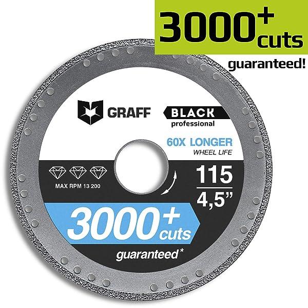 Diamond Metal Cutter GRAFF Black 4 1/2-Inch, Professional Angle Grinder Cutting Wheel, Sheet Metal Cutter, Cut Off Wheel 7/8-Inch Arbor - 3x Longer Metal Max Wheel Life (115mm) (Tamaño: 4.5 Inch (115mm))