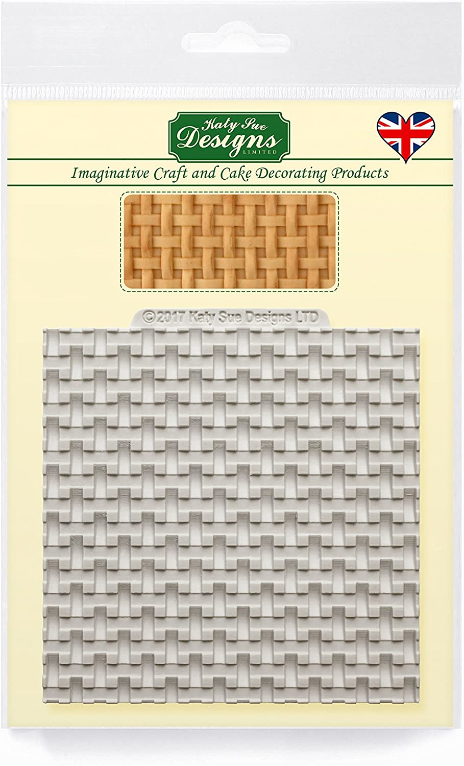 Katy Sue Designs Basket Weave Silicone Mold for Cake Decorating, Crafts, Cupcakes, Sugarcraft, Candies, Cards and Clay, Food Safe Approved, Made in The UK
