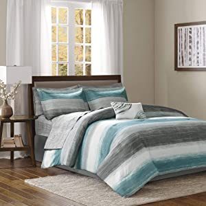 Madison Park Saben Comforter Bag Ultra Soft Down Alternative Hypoallergenic W/Cotton Texture Printed Sheets All Season Bedding-Set, Full, Aqua