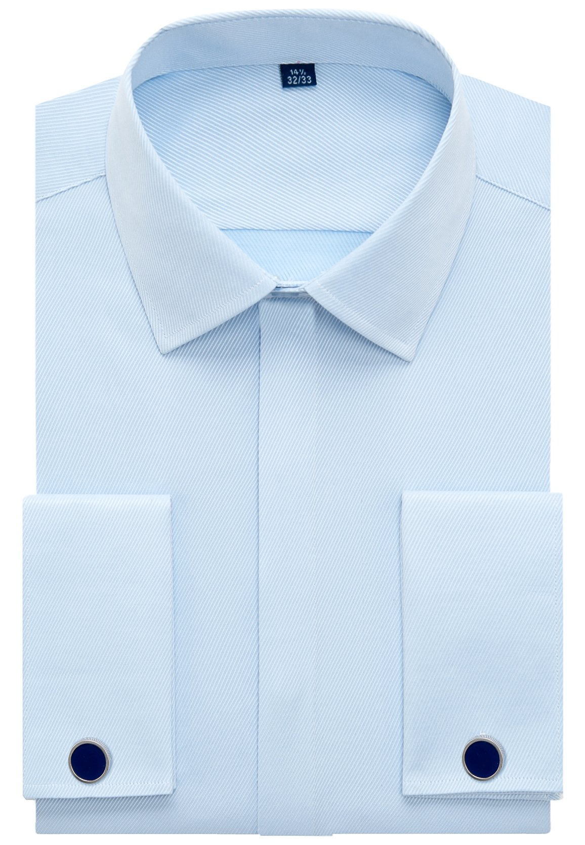 Alimens & Gentle Men's French Dress Shirt Regular Fit (Include Cufflinks Collar Stays) (17.5'' Neck 34''-35'' Sleeve, Twilled Blue)