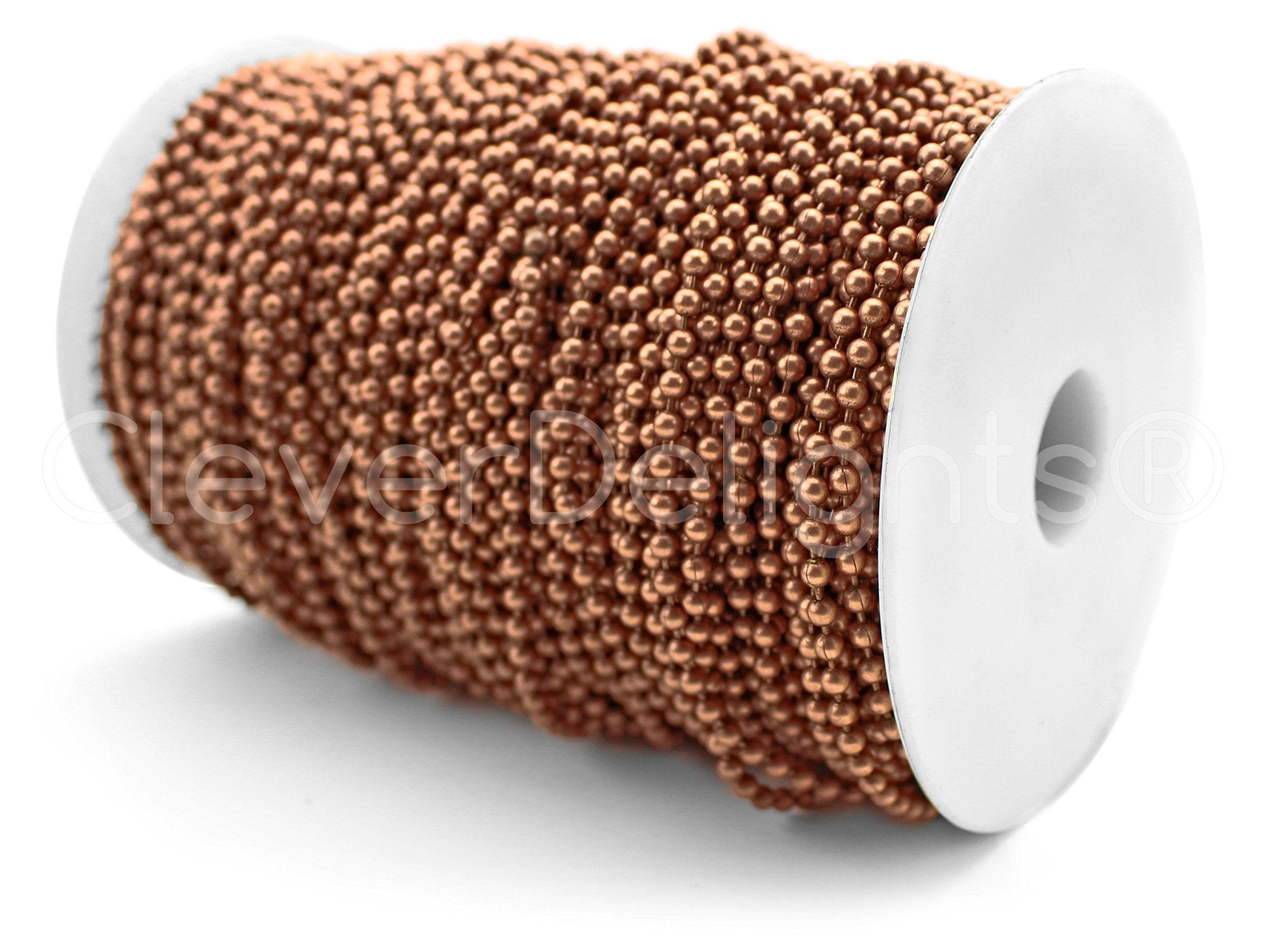 CleverDelights Ball Chain Spool - 330 Feet - 3.2mm Ball (#6 Size) - Antique Copper Color - 100 Meters by CleverDelights