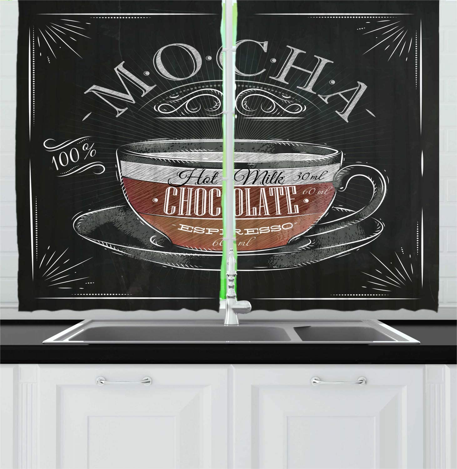 Lunarable Coffee Kitchen Curtains, Mocha Cup Hot Chocolate Espresso Old Fashioned Italian Chalkboard Design, Window Drapes 2 Panel Set for Kitchen Cafe Decor, 55