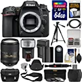 Nikon D7500 Wi-Fi 4K Digital SLR Camera Body with 18-300mm VR Lens + 64GB + Battery & Charger + Case + 3 Filters + Tripod + Flash + Kit