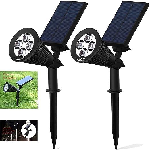[2 Packs]Luces solares, Proyector solar 2-en-1 Luz ajustable en el suelo de luz de pared de paisaje Luz de seguridad a prueba de agua para jardín al ...
