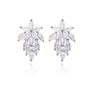 503e02dea Women's Cubic Zirconia Bridal Wedding Earrings with Marquis-Cut CZ Clusters  Plated in Genuine Floral