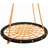 OUTROAD Web Swing for Tree - 24 Inch Outdoor Spider Net Swing for Kids, Orange, with Extra 60 inch Hanging Strap