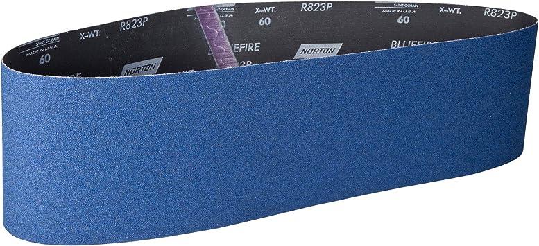 Norton BlueFire R823P Benchstand Abrasive Belt 2 Width Zirconia Alumina Polyester Backing Waterproof Grit 80 72 Length Pack of 10