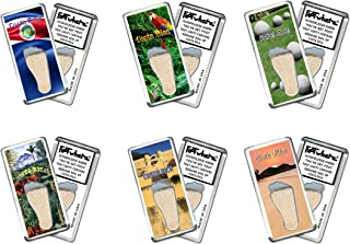 """product image for Costa Rica""""FootWhere"""" Souvenir Fridge Magnets. 6 Piece Set. Made in USA"""