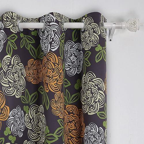 Deconovo Darkening Modern Flower Design Grommet Curtains for Girls Room, 42×95, Green Orange and White