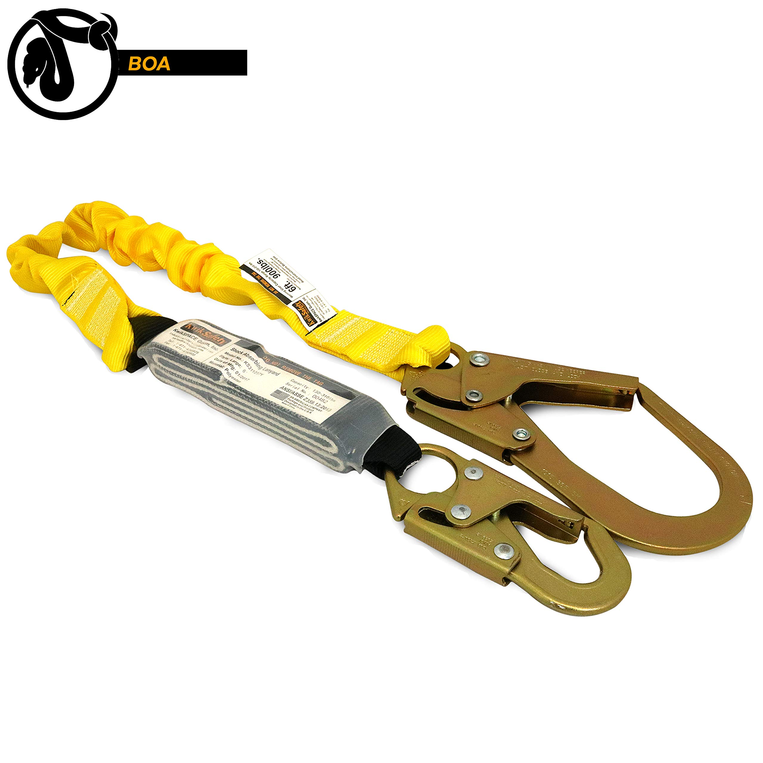 KwikSafety (Charlotte, NC) BOA 1 PACK (External Shock Absorber) Single Leg 6ft Safety Lanyard OSHA ANSI Fall Protection Restraint Equipment Snap Rebar Hook Connectors Construction Arborist Roofing by KwikSafety