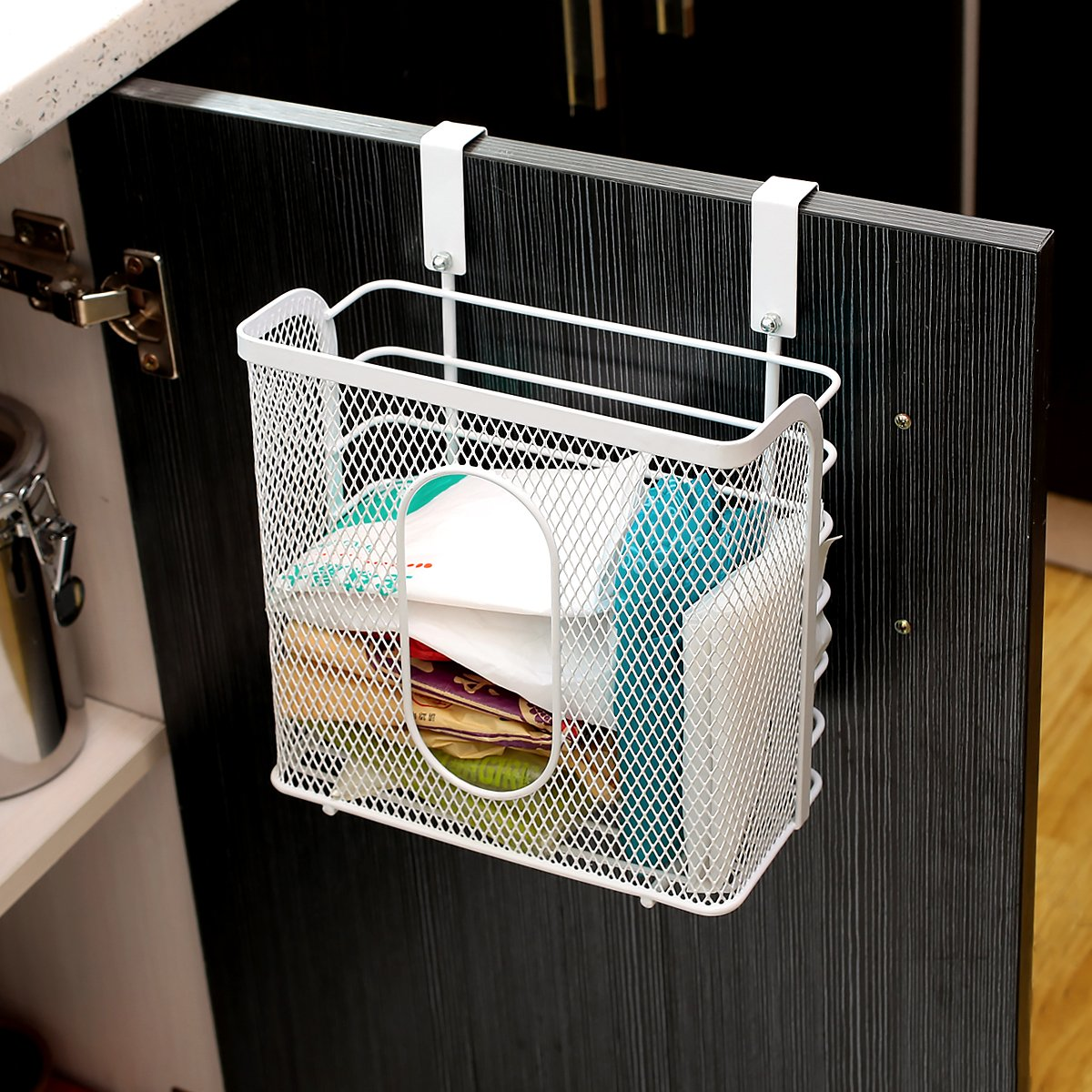 Creatwo Door Grid Basket Hanging Basket Metal Mesh Caddy Baskets for Kitchen Cabinet Storage, White CT-HK-0035