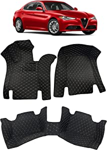 Custom Fit [Made in USA] All Weather Heavy Duty Full Coverage Floor Mat Floor Protection [Front and Rear] for 2017 2018 2019 2020 Alfa Romeo Giulia Sedan -Black Single Layer