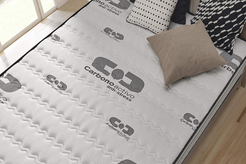 Ergonomique NATURALEX Multi Couches Extra Confort Mousse A M/émoire De Forme V60 Syst/ème Bio Memory Actif Carbon Latex 7 Zones Anti-Stress Matelas Visco Carbone 70x190 cm