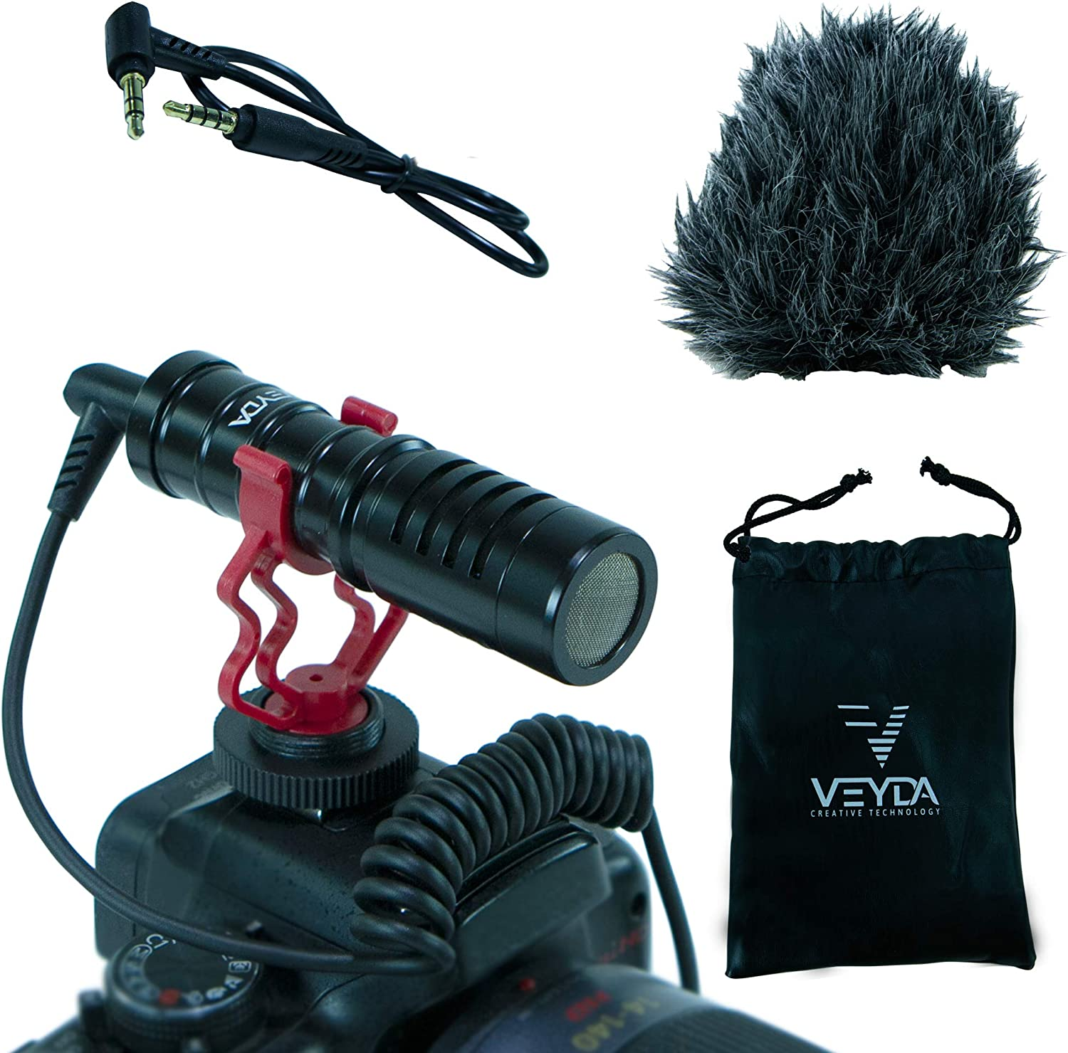 VEYDA VD-SG1 Universal Video Shotgun Microphone with Shock-Absorbing Mount, Deluxe Deadcat Windscreen and 3.5mm TRS/TRRS Patch Cables - Perfect for Vlogging and Influencing