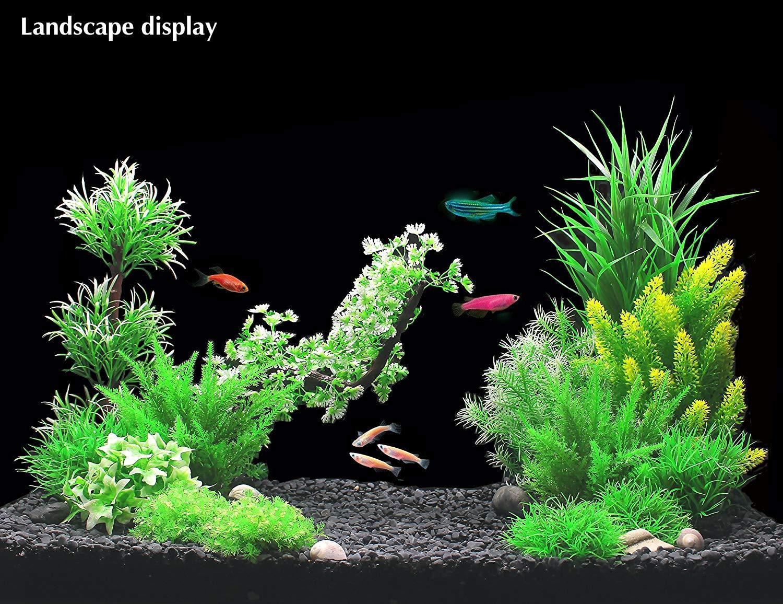 Fish Tank Green Decoration Aquatic Water Grass Ornament with Ceramic Base Lobelia-green-8in ZAZALUM Artificial Aquarium Silk Plants