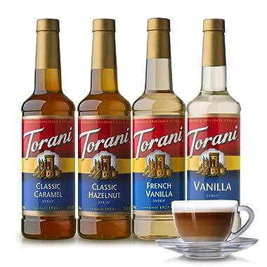 Torani Variety Pack Caramel, French Vanilla, Vanilla & Hazelnut, 25.4 Fl Oz (Pack of 4)