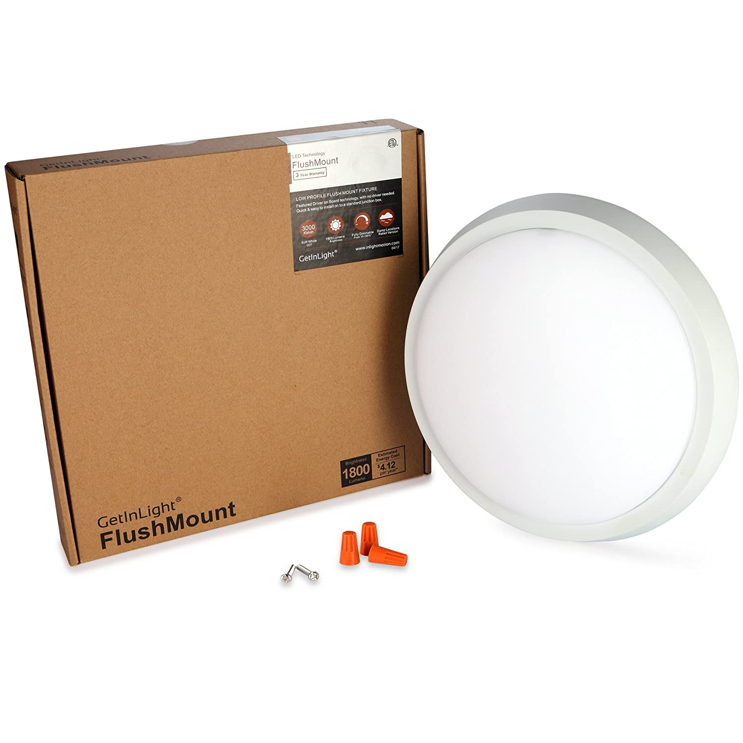 GetInLight 11 Inch Flush Mount LED Ceiling Light with ETL Listed, Soft White 3000K, Matte White Finish, IN-0302-4-WH - - Amazon.com
