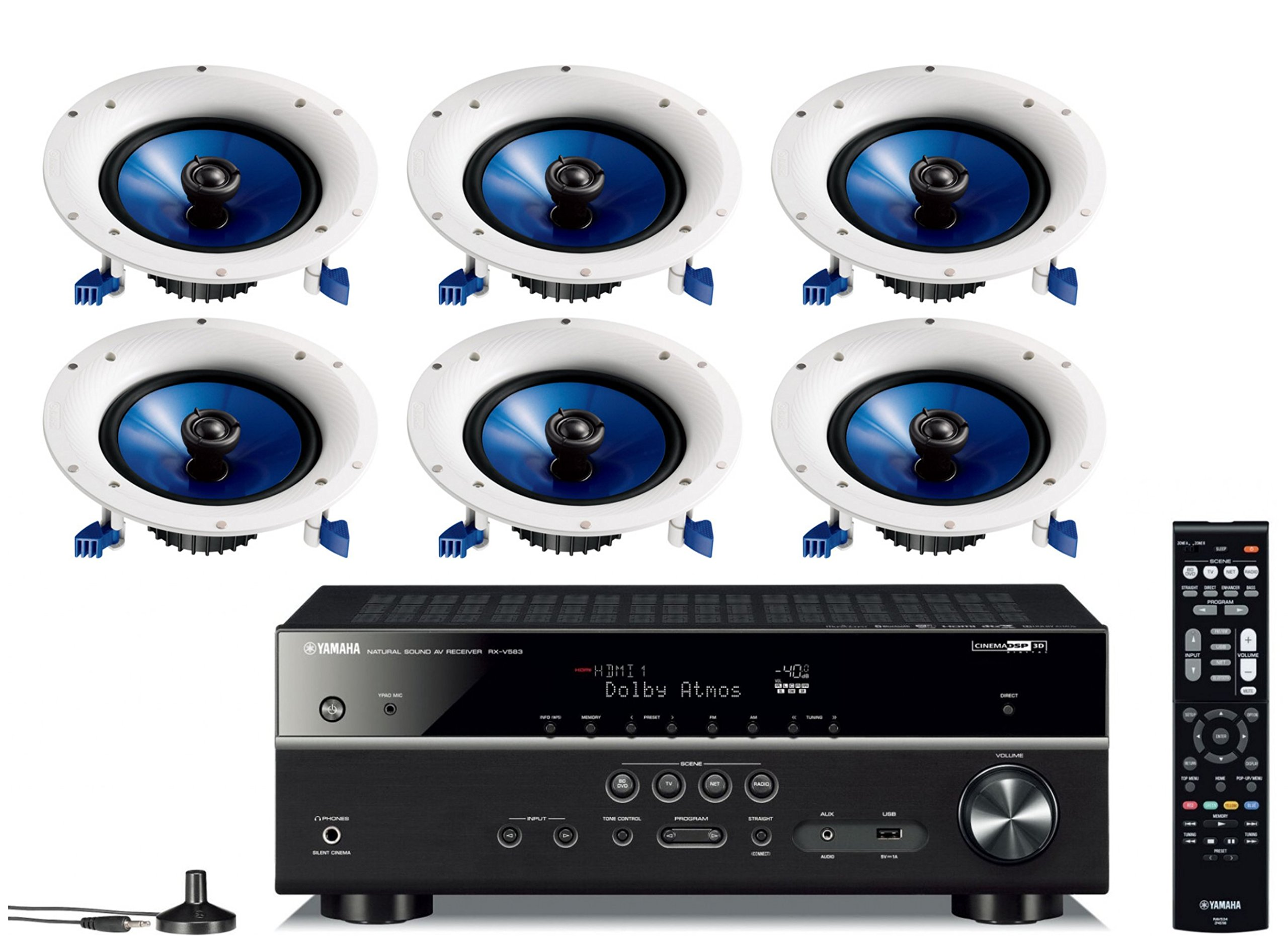Yamaha 7.2-Channel Wireless Bluetooth 4K Network A/V Wi-Fi Home Theater Receiver + Yamaha High-Performance Moisture Resistant 2-Way 8'' 140 watt Surround Sound in-ceiling Speaker System (Set Of 6) by Yamaha